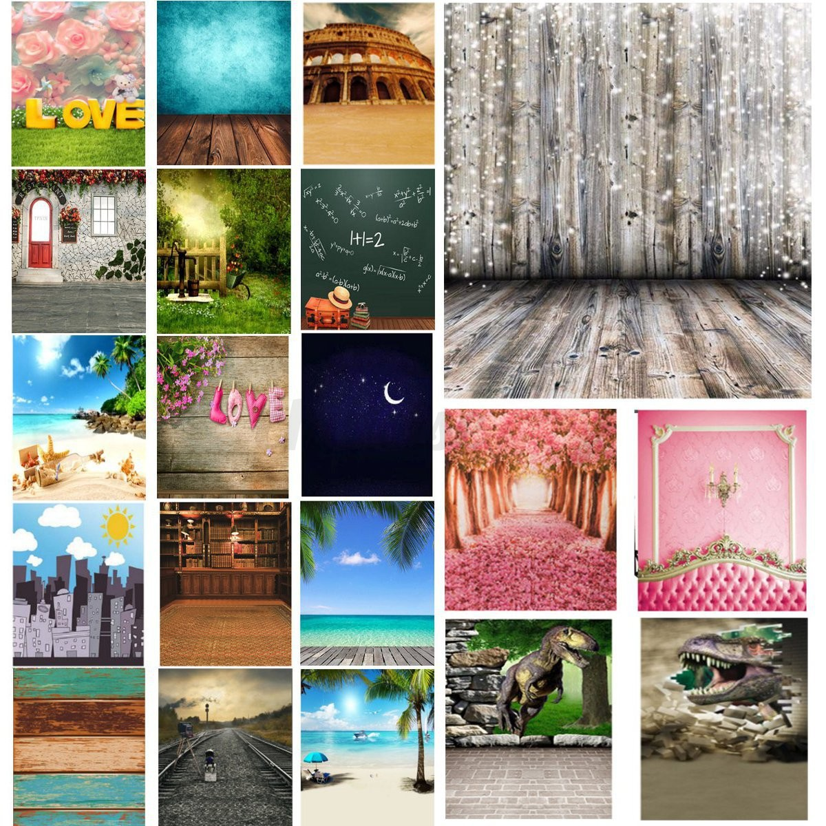 3x5Ft Dreamy Love Photography Background Wall Floor Board Backdrop For Studio US