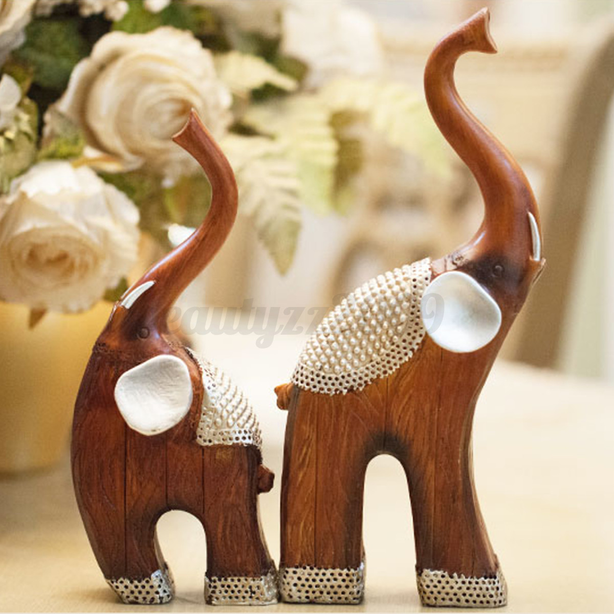 2pcs lucky baby elephant ornaments resin delicate figurine for Elephant decorations for home