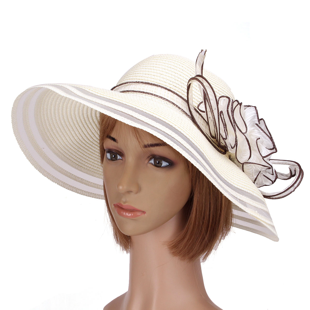 Women dress church wedding kentucky derby wide brim straw for Dress hats for weddings