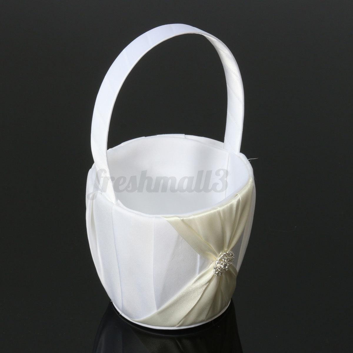 Flower Girl Basket Kit : Wedding confetti flower girl basket color bowknot satin