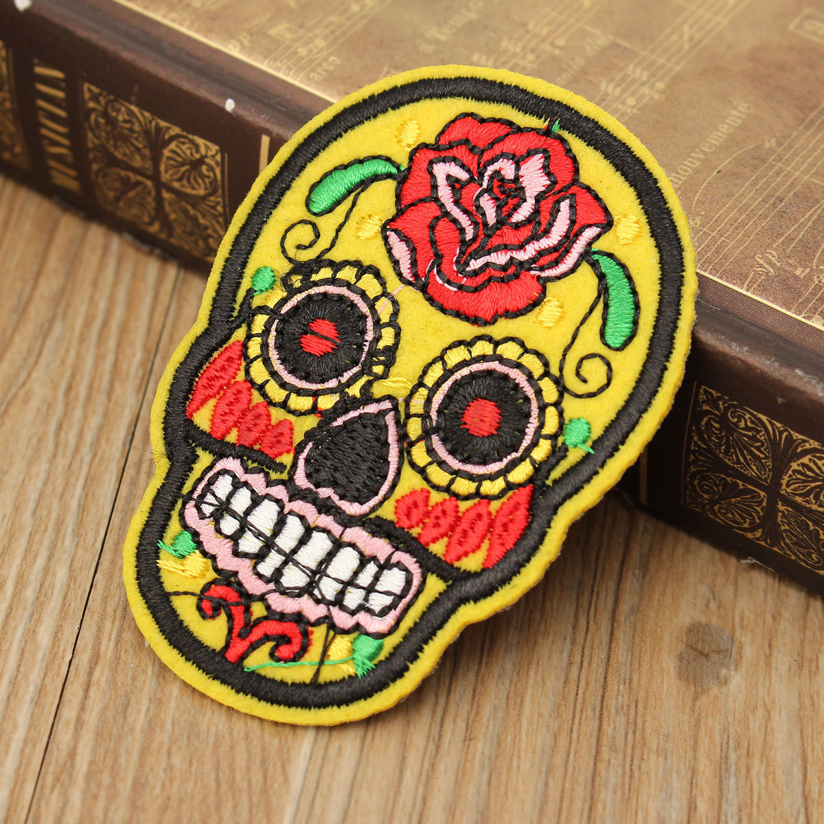 Sugar Skull Flower Iron On Applique Embroidered Patch ...