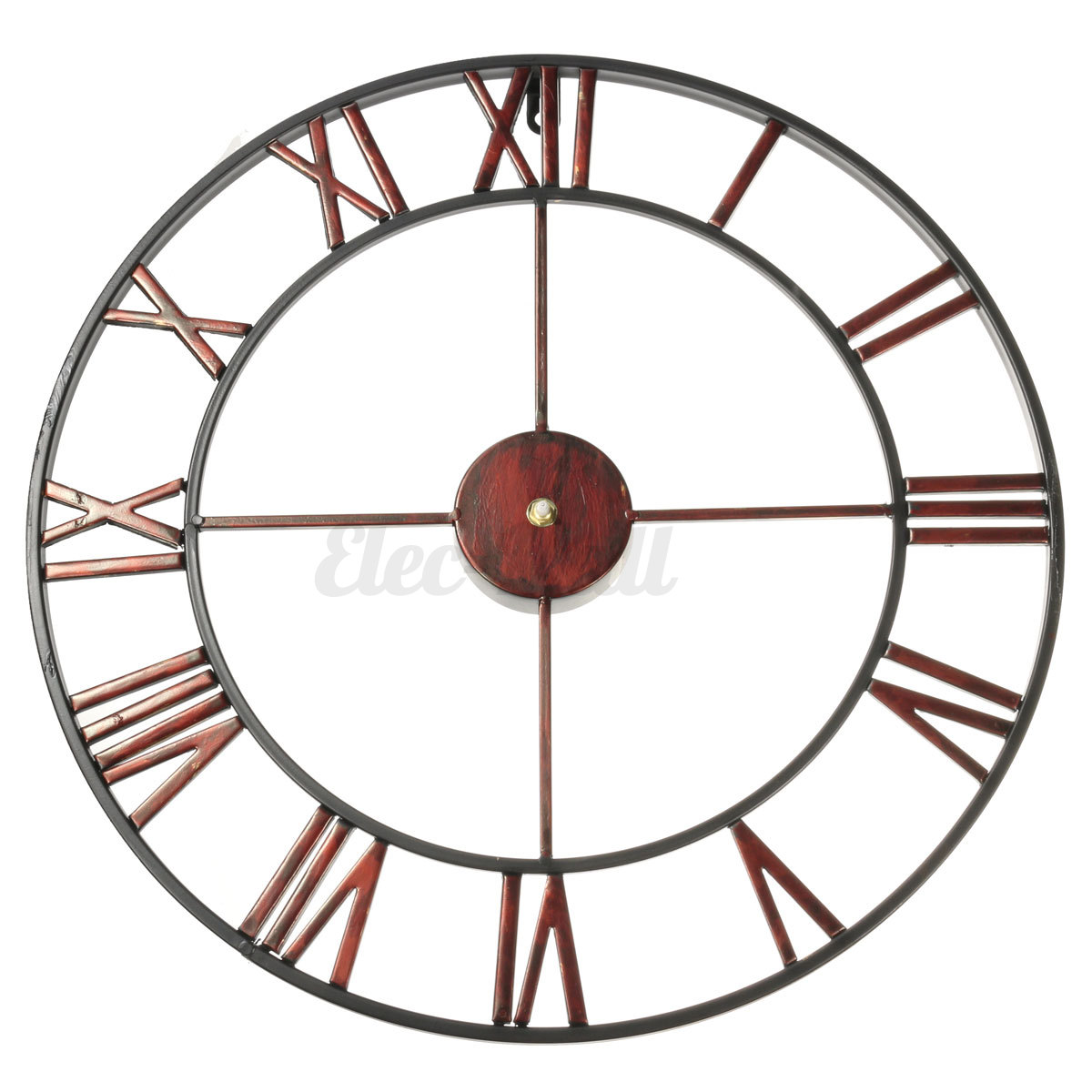 Classic large metal wrought iron wall clock roman numerals steampunk home decor ebay - Large roman numeral wall clocks ...