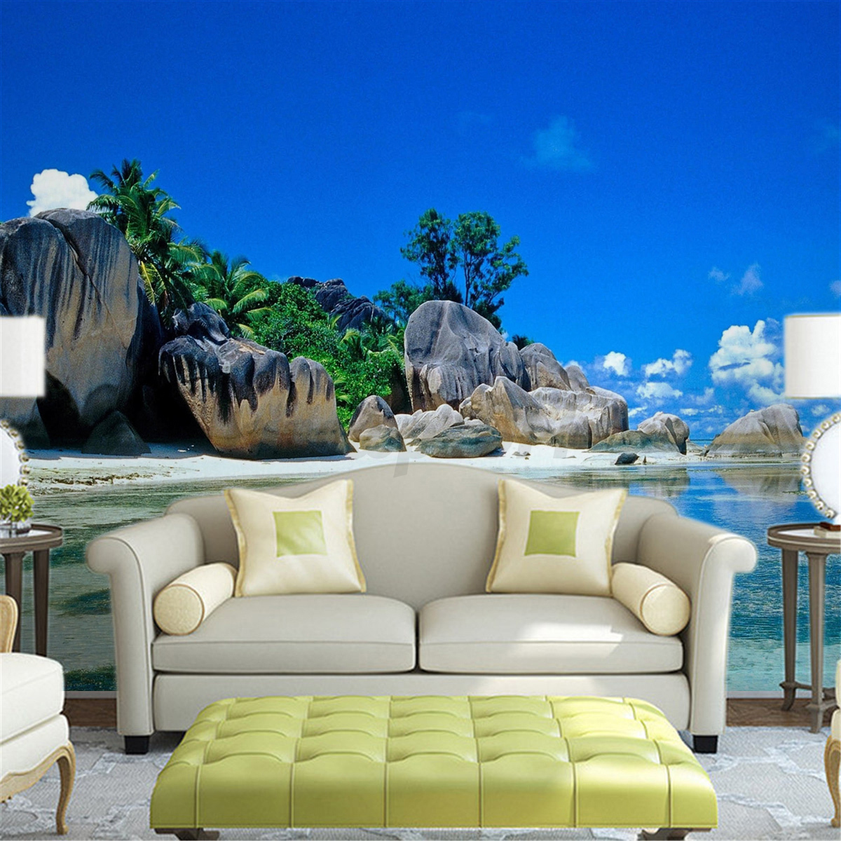 3d wallpaper bedroom living mural beach sea island for Beach mural bedroom