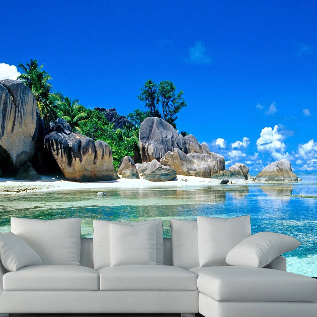 3d wallpaper bedroom living mural beach sea island for Beach mural wallpaper