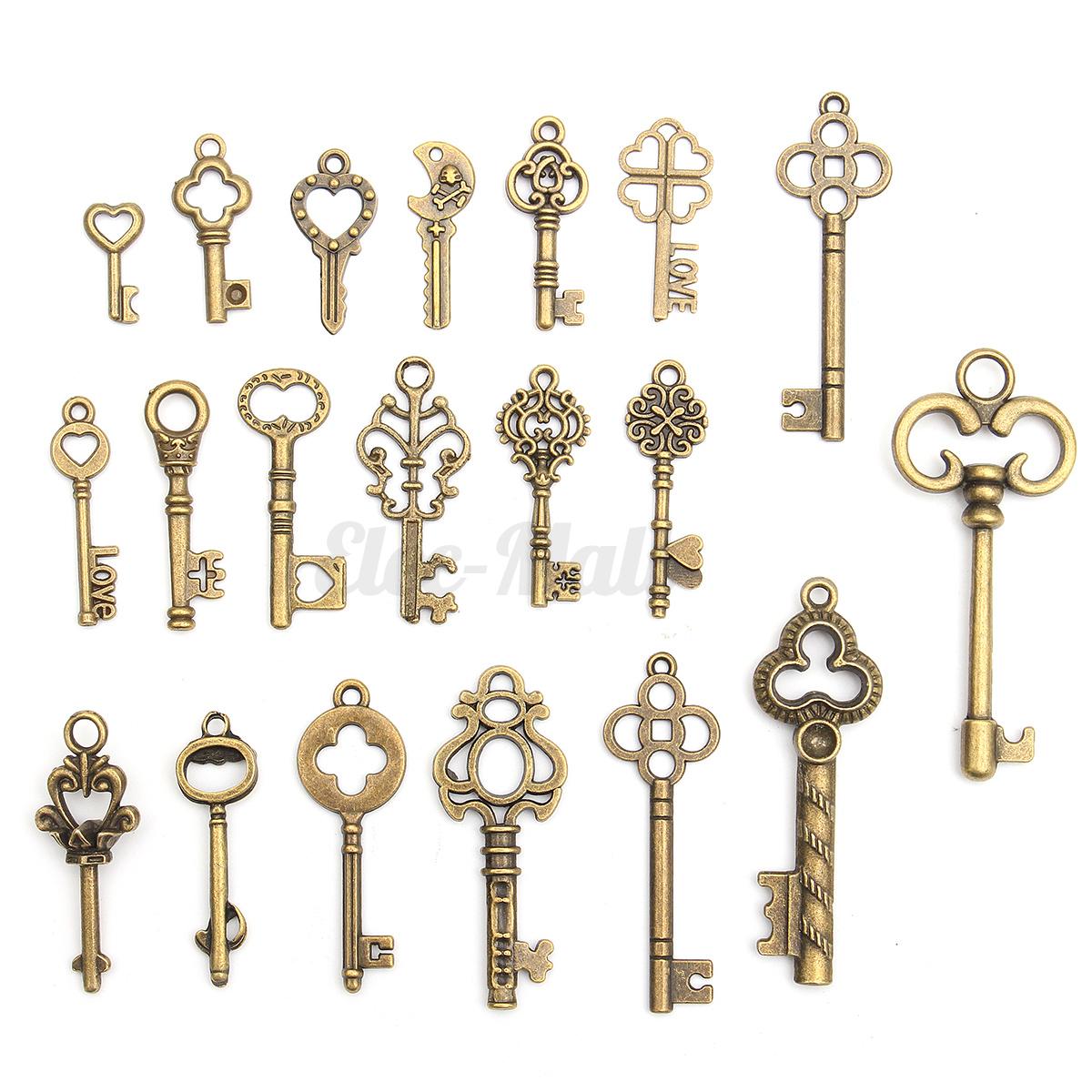 Set of 20 Antique Vintage Old Look Bronze Skeleton Keys Fancy Heart Bow Pendant