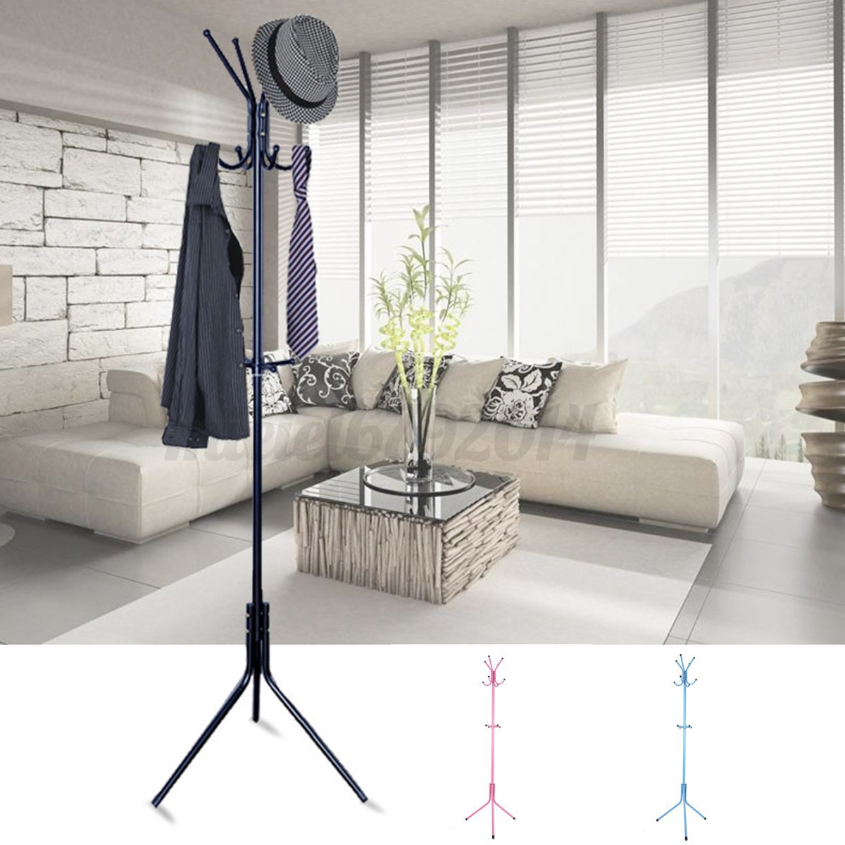 Hat Coat Umbrella Floor Stand Clothes Storage Rack Holder Hooks Office Hat