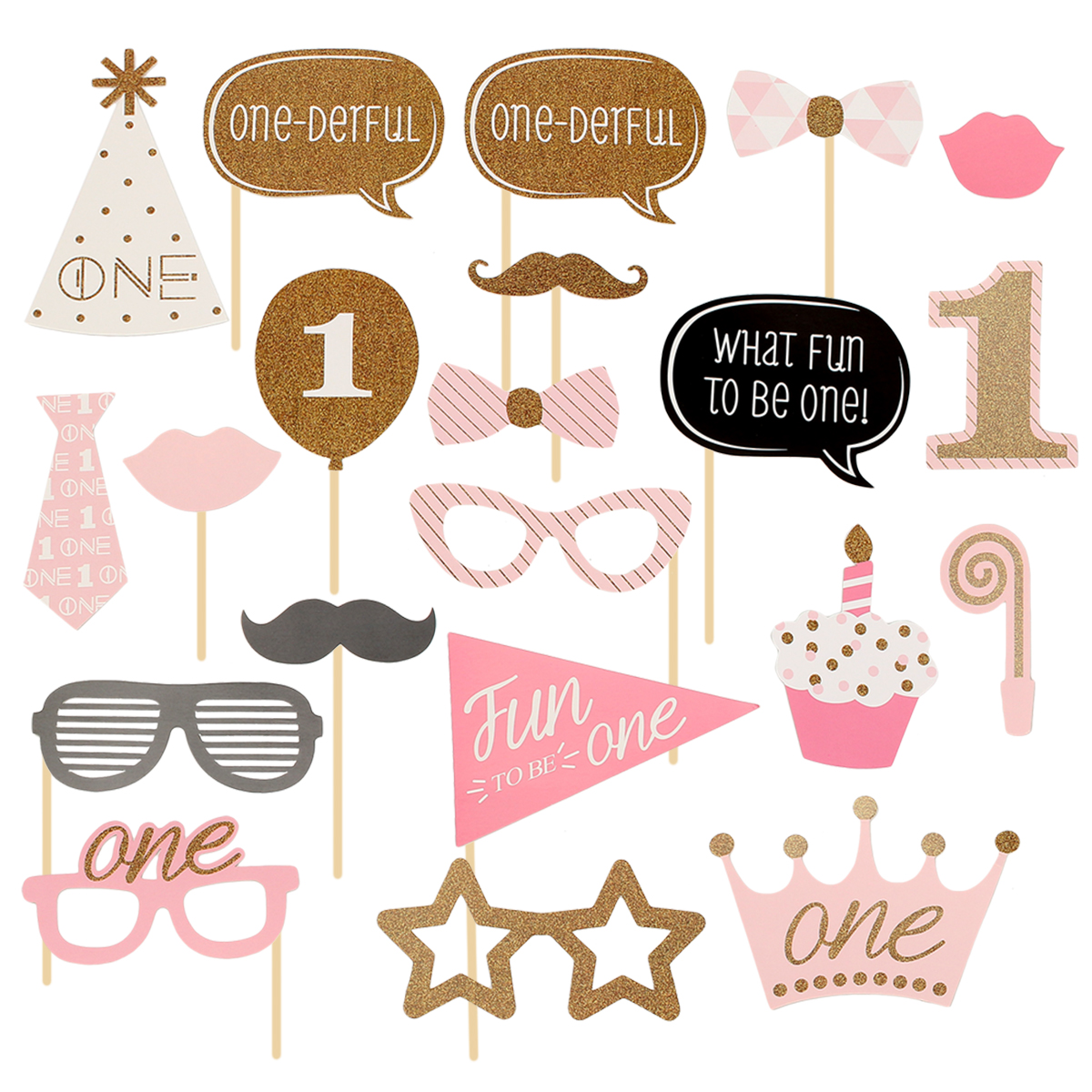 20Pcs Baby's 1st Birthday Party Funny Photo Booth Props