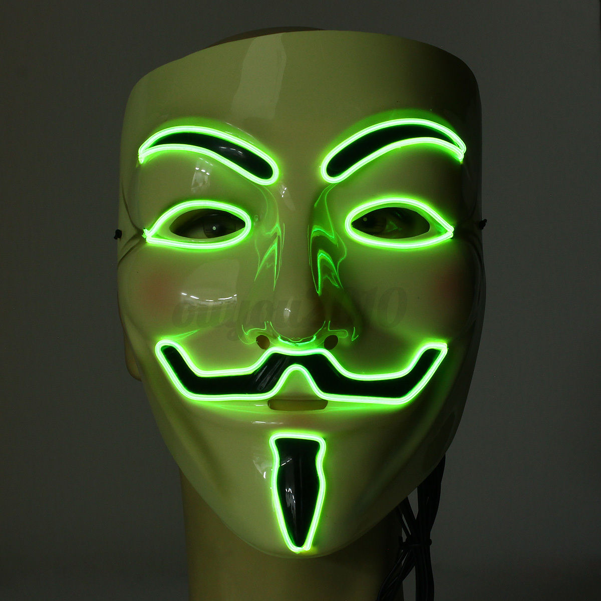 vendetta guy fawkes anonymous mask el wire light up led masque halloween costume ebay. Black Bedroom Furniture Sets. Home Design Ideas