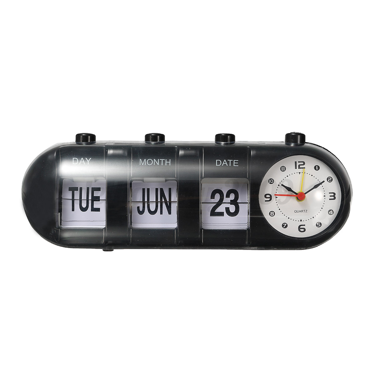 vintage flip digital quartz desk alarm clock day date calendar time display ebay. Black Bedroom Furniture Sets. Home Design Ideas