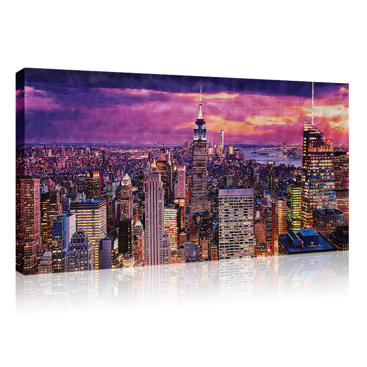 xxl leinwand bilder aufgespannt kunstdruck new york skyline bild wandbild deko ebay. Black Bedroom Furniture Sets. Home Design Ideas