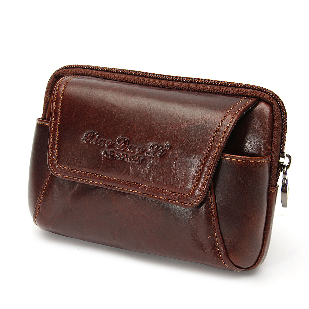 Men Cowhide Waist Bag Leather Cell Phone Case Cover Pouch