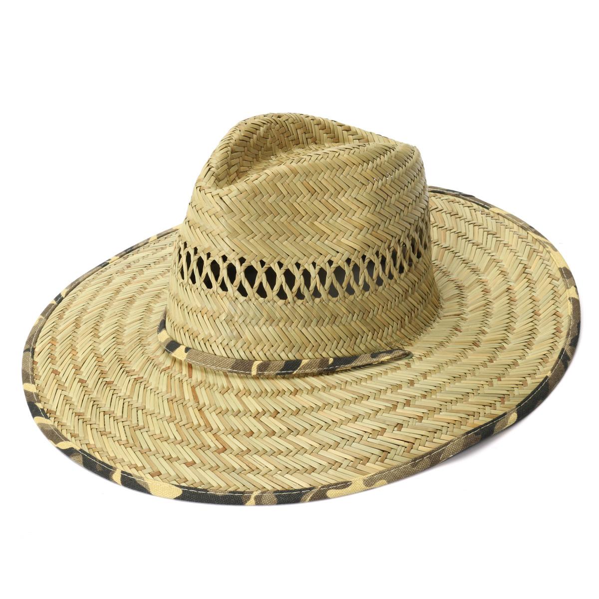 Unisex handmade panama wide brim bamboo straw hat sun cap for Fishing straw hat