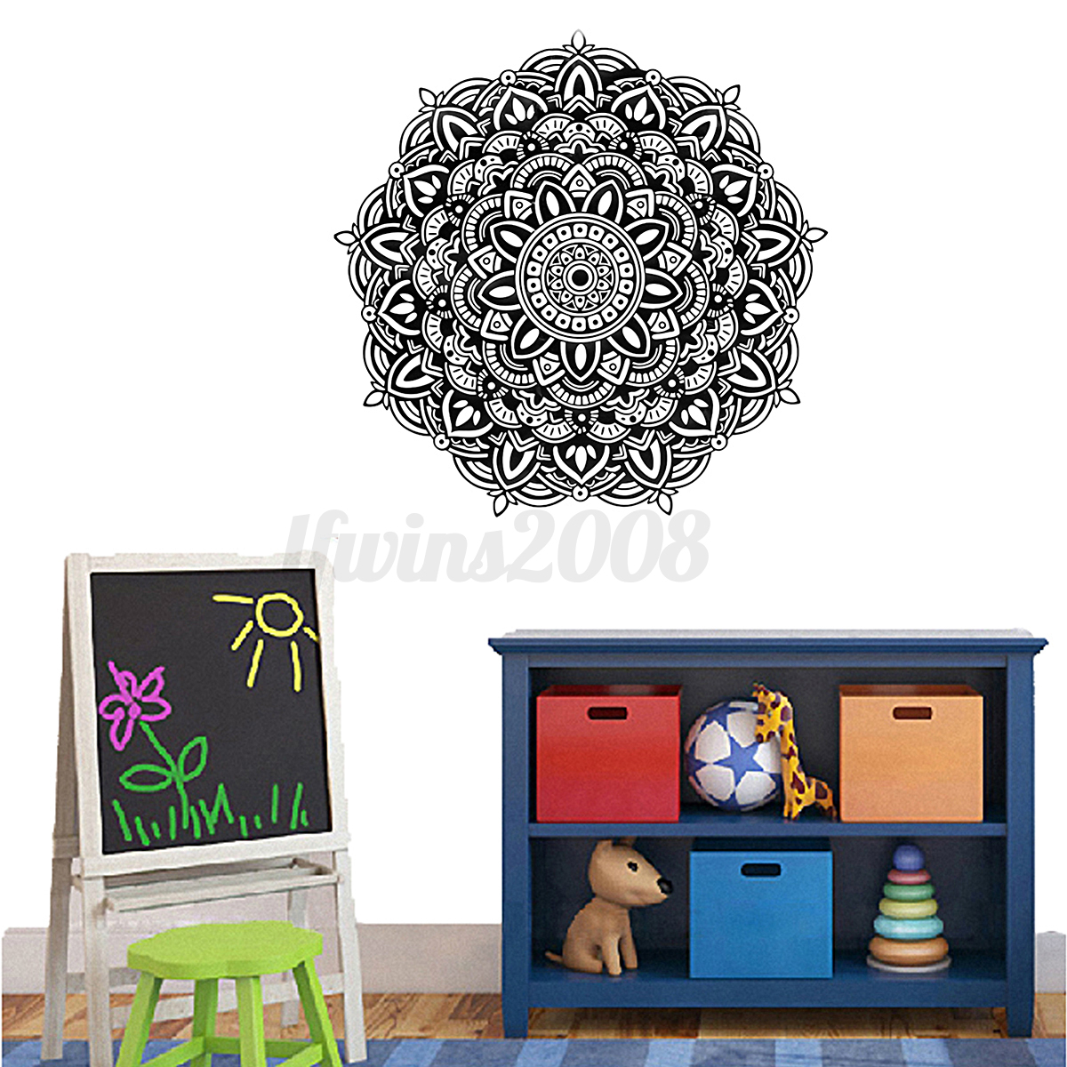 indische blumen mandala wandaufkleber wandtattoo. Black Bedroom Furniture Sets. Home Design Ideas