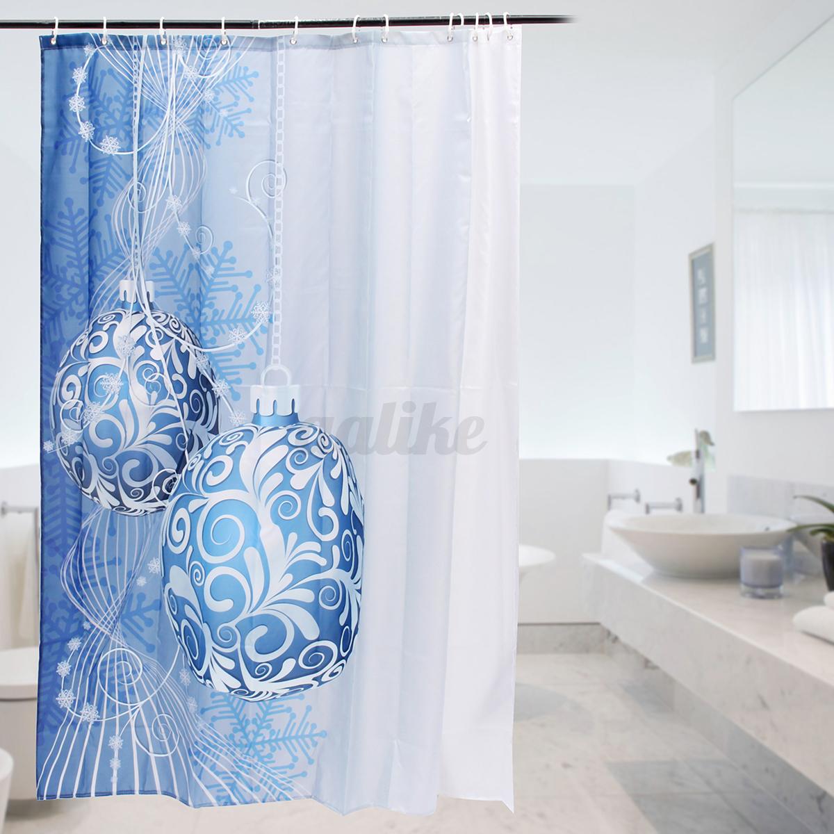 Waterproof fabric christmas bathroom shower curtain panel 12 hooks 180x180cm ebay for Bathroom holiday shower curtains