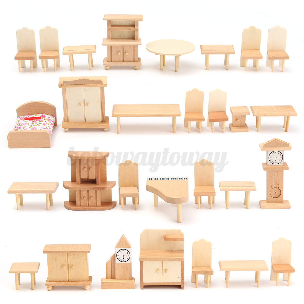 29pcs 1 24 scale dollhouse miniature unpainted wooden Scale model furniture