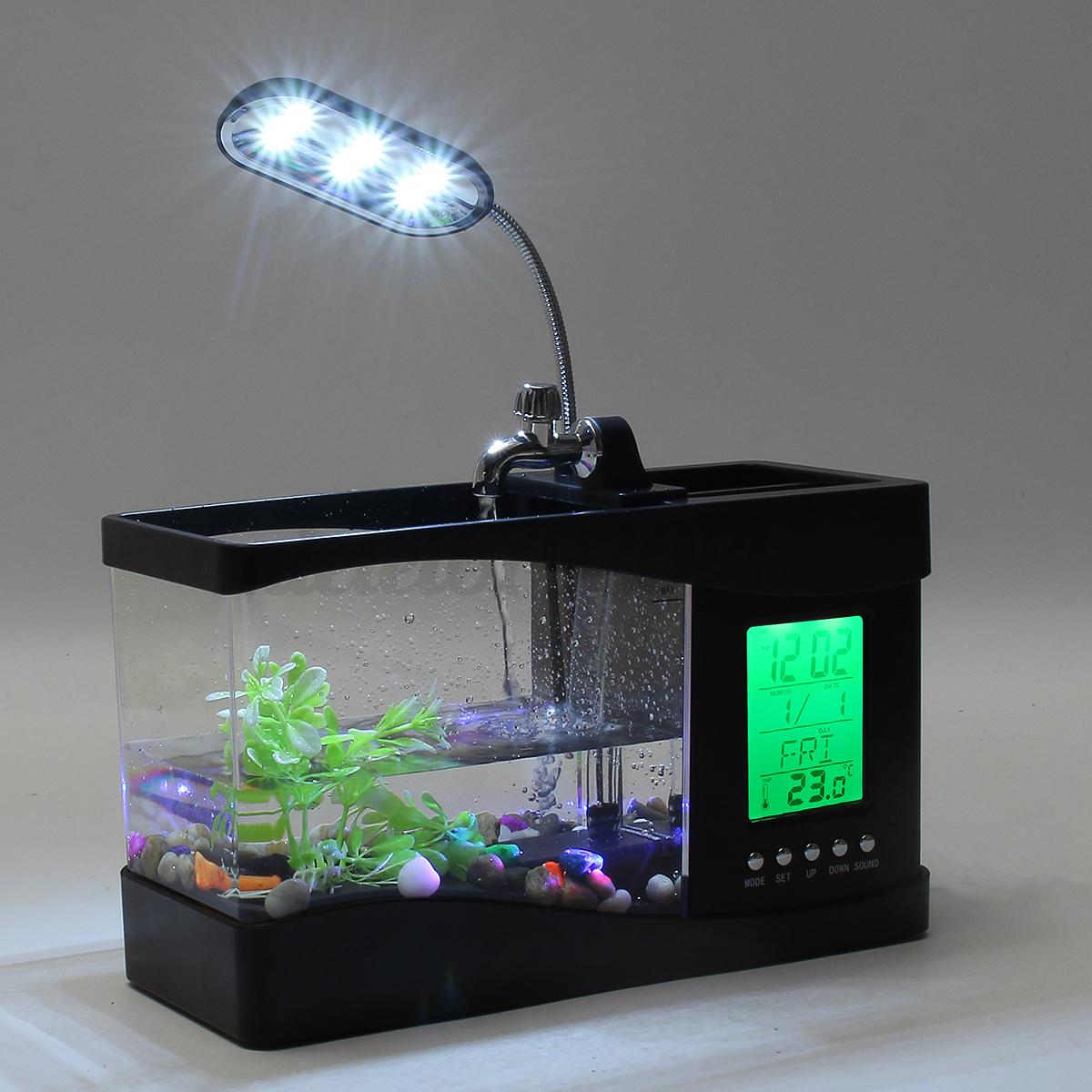 New mini desktop aquarium fish tank alarm clock usb table for Usb fish tank