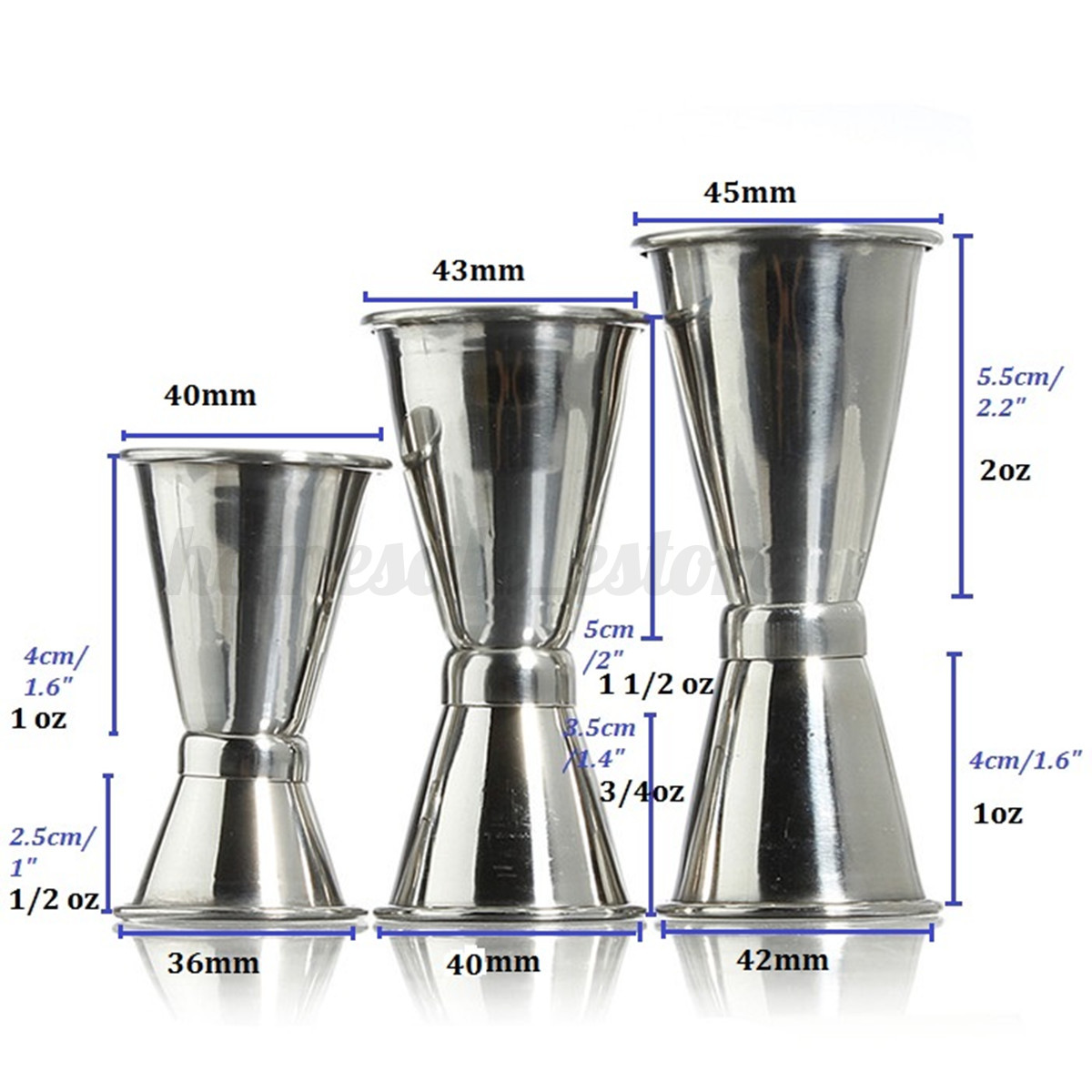 3 Size Jigger Single Measure Cup Double Shot Cocktail Wine