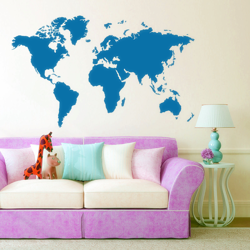 11260cm world map wall sticker removable vinyl decal home office image is loading 112 60cm world map wall sticker removable vinyl gumiabroncs Images