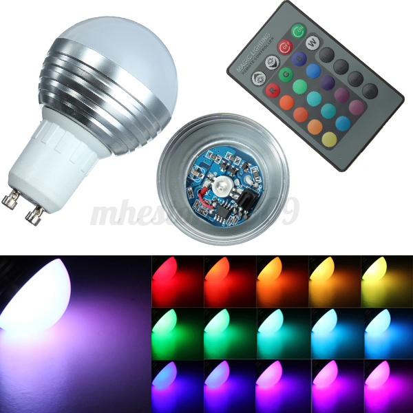 e14 gu10 e27 3w rgb led 16 couleur globe ampoule lampe bulb ir 24 t l commande. Black Bedroom Furniture Sets. Home Design Ideas