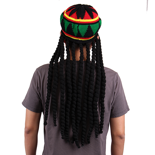 Strickmütze Jamaican Reggae Headgear Baggy Cap Mütze Rasta Perücke Dreadlocks