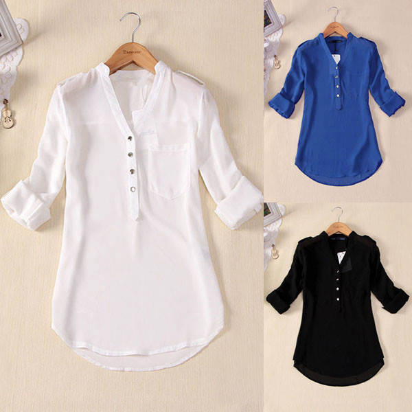 S 4xl Women Long Sleeve T Shirt V Neck Loose Casual Blouse Chiffon