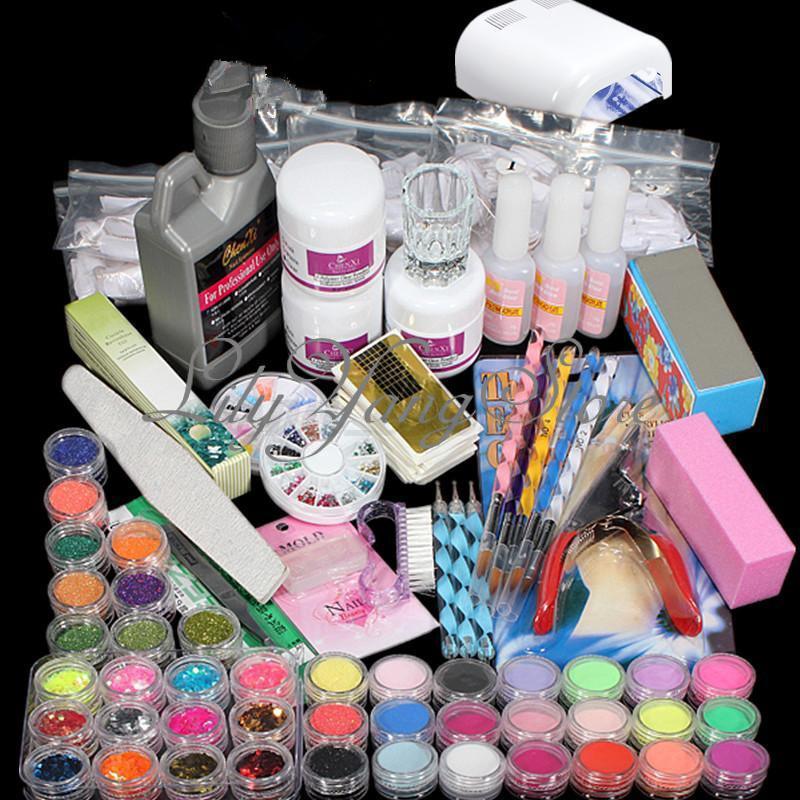 Kit-Acrilico-Unas-Manicura-Pedicura-Lampara-Completo-Francesa-Nail-Art-Gel-UV