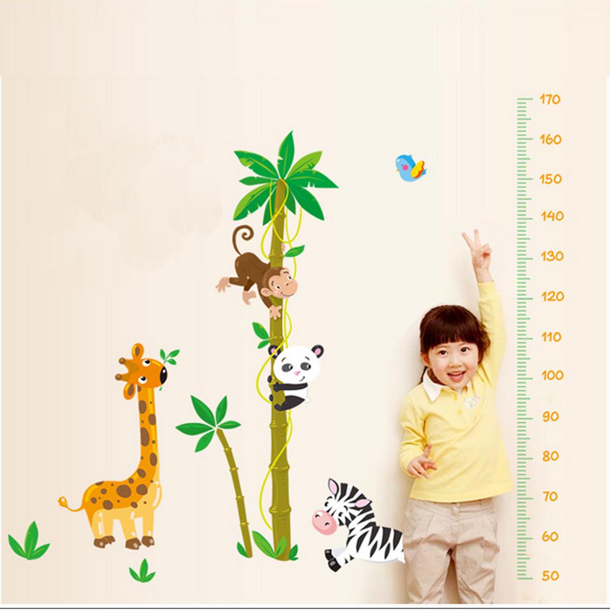Wall Sticker Height Chart Cartoon Animals Children Kids Growth Height Measure Chart