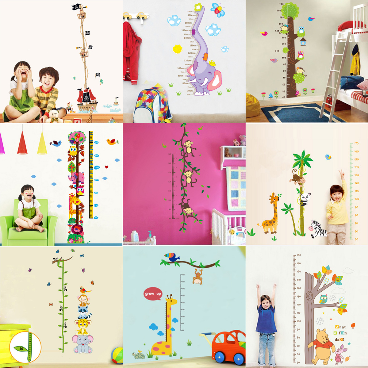 Cartoon animals children kids growth height measure chart wall detail image nvjuhfo Image collections