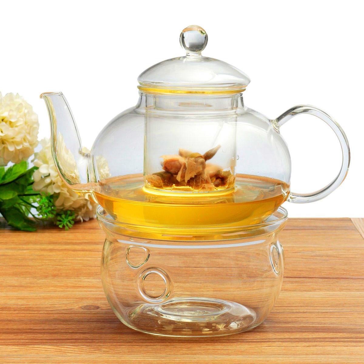 Borosilicate Glass Tea Pot Set Infuser Teapot + Warmer + 6 Double ...