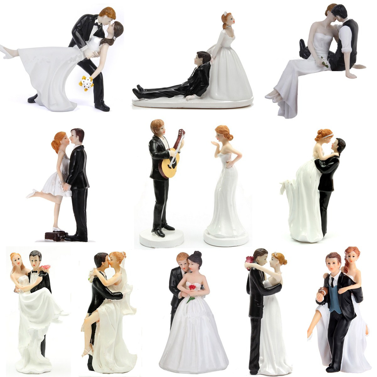 ROMANTIC FUNNY WEDDING CAKE TOPPER FIGURE BRIDE GROOM COUPLE
