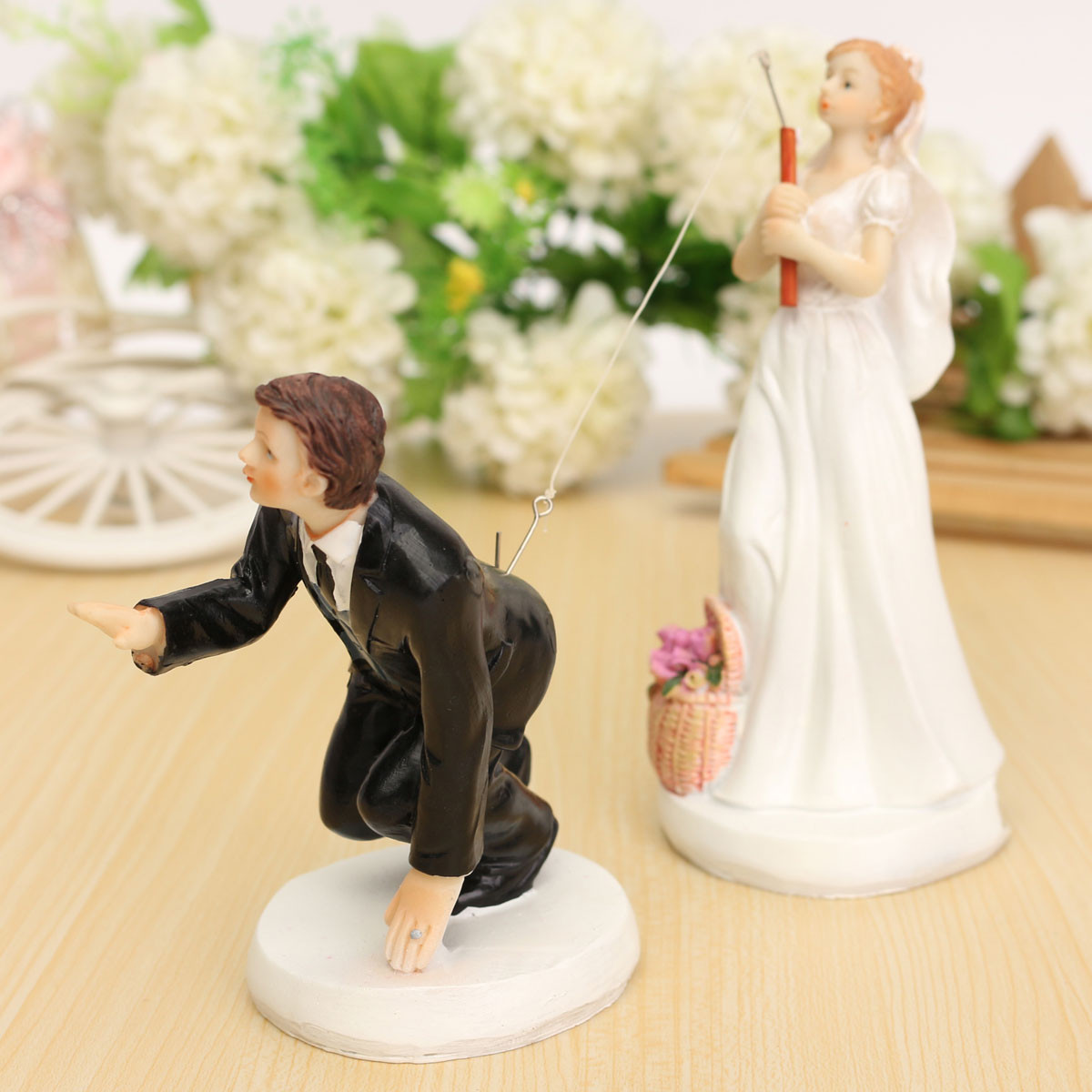 ROMANTIC FUNNY WEDDING CAKE TOPPER FIGURE BRIDE GROOM COUPLE BRIDAL ...