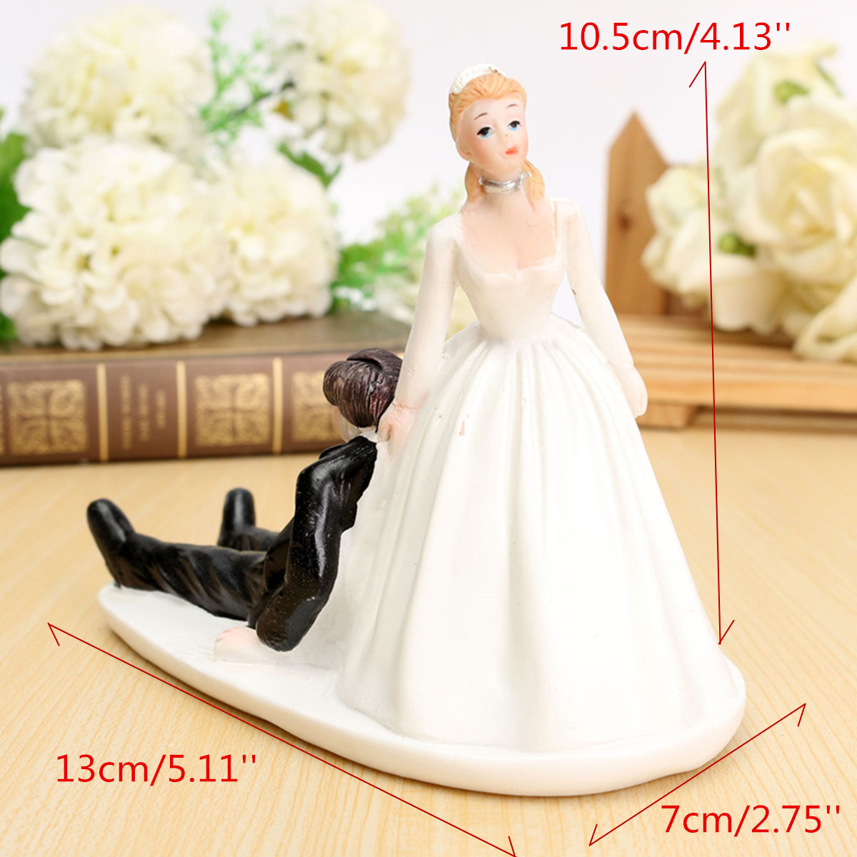 ROMANTIC FUNNY WEDDING CAKE TOPPER FIGURE BRIDE GROOM COUPLE BRIDAL ...