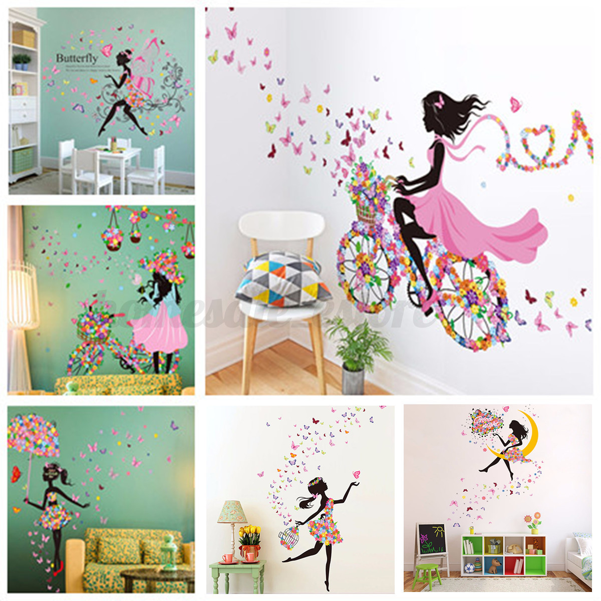 Flower Girl Removable Wall Art Sticker Vinyl Decal Kids