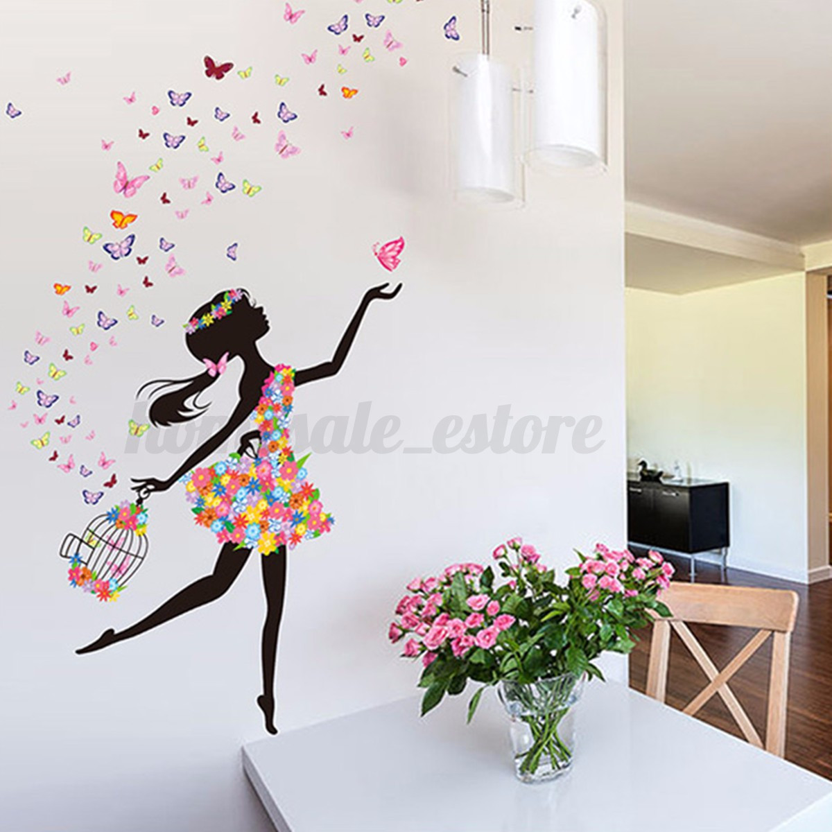 Flower girl removable wall art sticker vinyl decal kids for Butterfly mural wallpaper