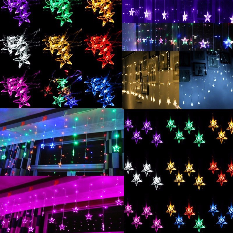 rgb led lichtervorhang lichterkette weihnachten fenster beleuchtung au en innen ebay. Black Bedroom Furniture Sets. Home Design Ideas