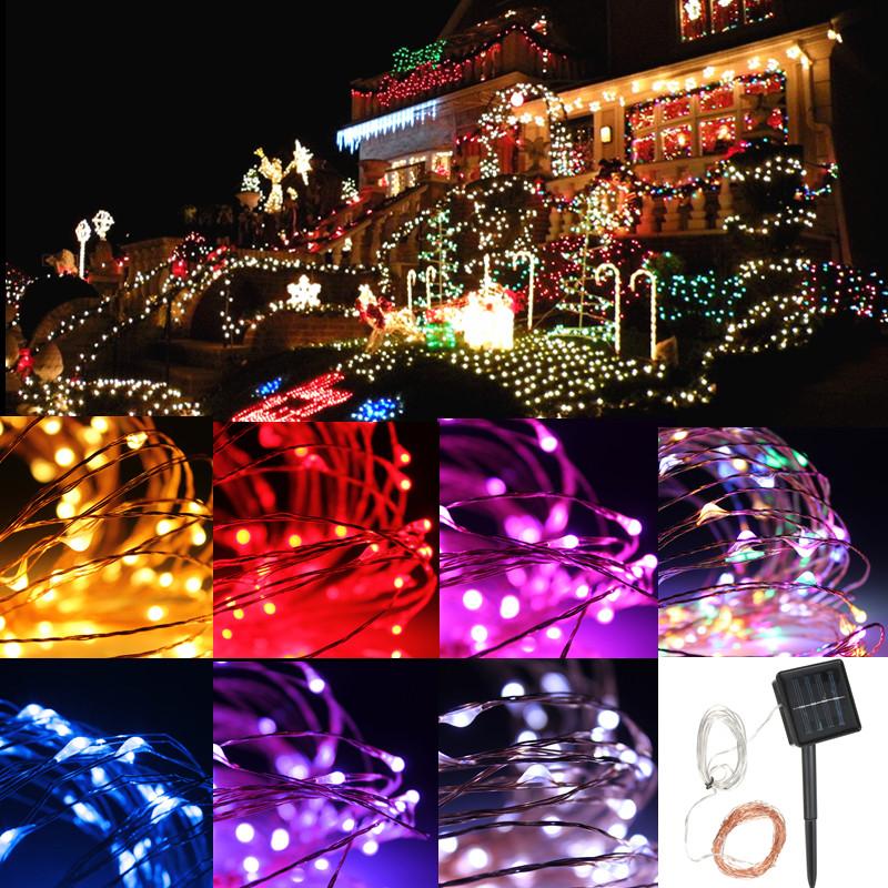 10-200-LED-Battery-Solar-Power-Silver-Copper-Wire-String-Fairy-Lights-Waterproof