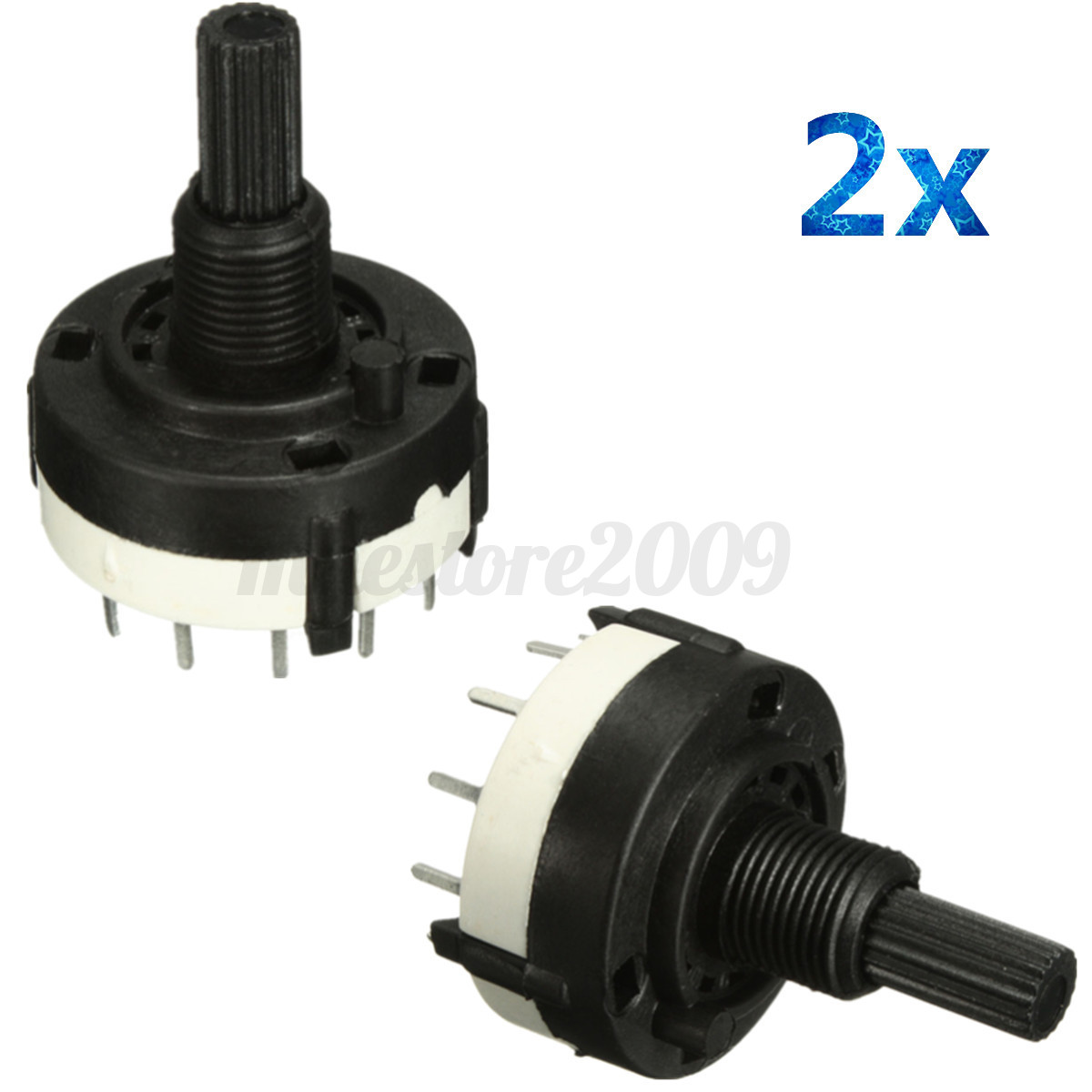 2x 1 Pole 12 Position Panel PCB Wiring Rotary Switch 18 Teeth Shaft Adjustable X