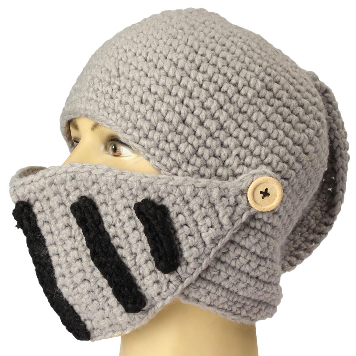 Unisex Men Knit Face Mask Beard Cap Crochet Ski Mustache Winter Warm Beanie  Hat  d9a701c864d