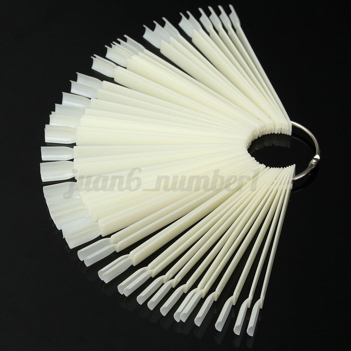 50pz-Espositore-Ventaglio-Nail-Art-Ricostruzione-Unghie-Tips-Porta-Dsplay-Gel-UV miniatura 4