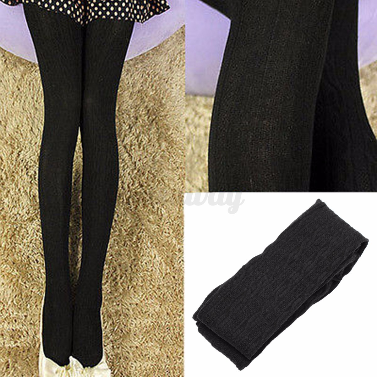 femme fille leggings chaussette collant jambi res bas tricot pais chaud hiver ebay. Black Bedroom Furniture Sets. Home Design Ideas