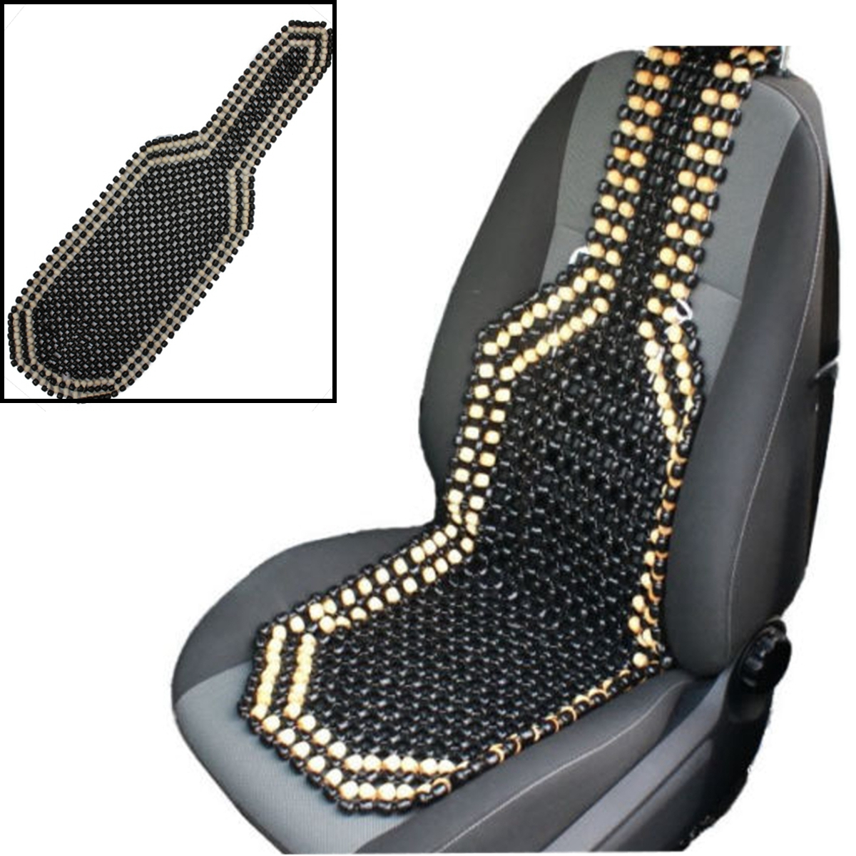 Natural Wooden Beaded Massage Seat Cover Cushion Breathable Car Taxi Truck  /""