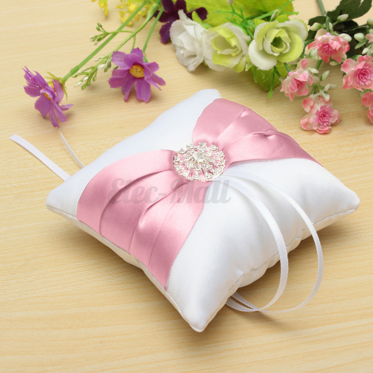 Bowknot Satin Diamond Pocket Ring Pillow Bearer Cushion Romantic ...