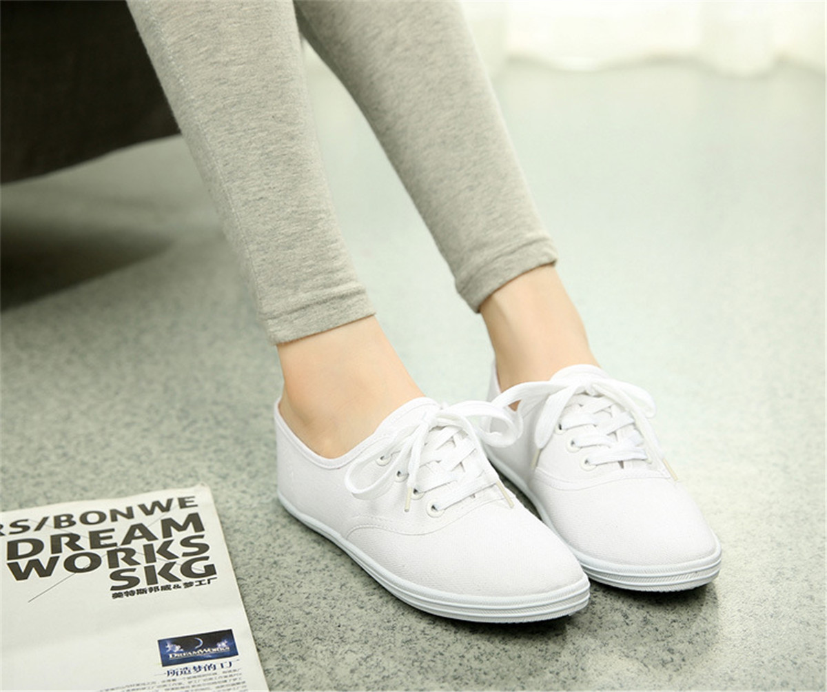 Womens White Flat Casual Shoes