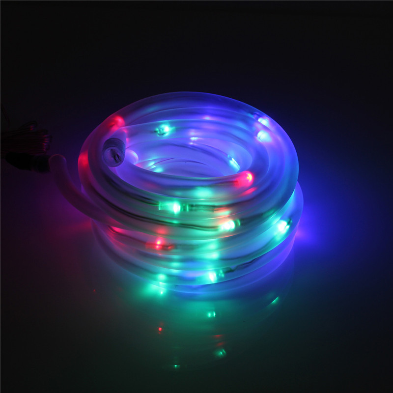 Led Rope Lights With Remote: 100/200LED Rope Tube Light String Solar/Battery Outdoor