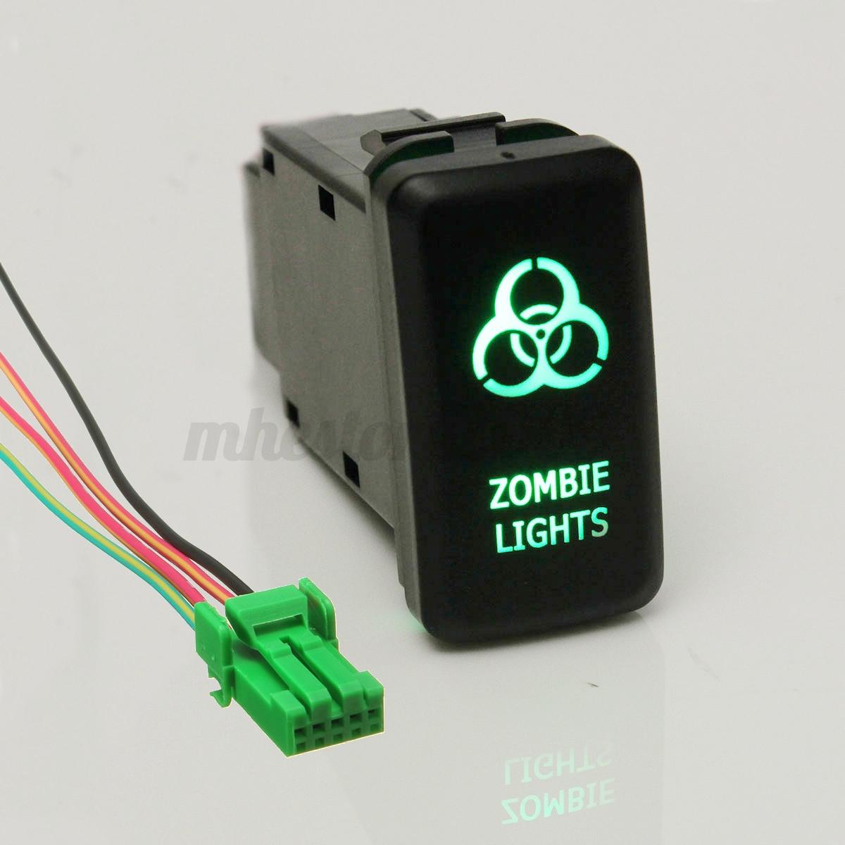 Green Led Zombie Light Push Switch 12v For Toyota Landcruiser Hilux Rocker Wiring Diagram Image Is Loading