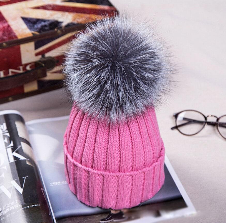 Hot Women Winter Racoon Fur Pom Pom 18cm Ball Knit Beanie Ski Cap Bobble Hat   b31c8ad7258