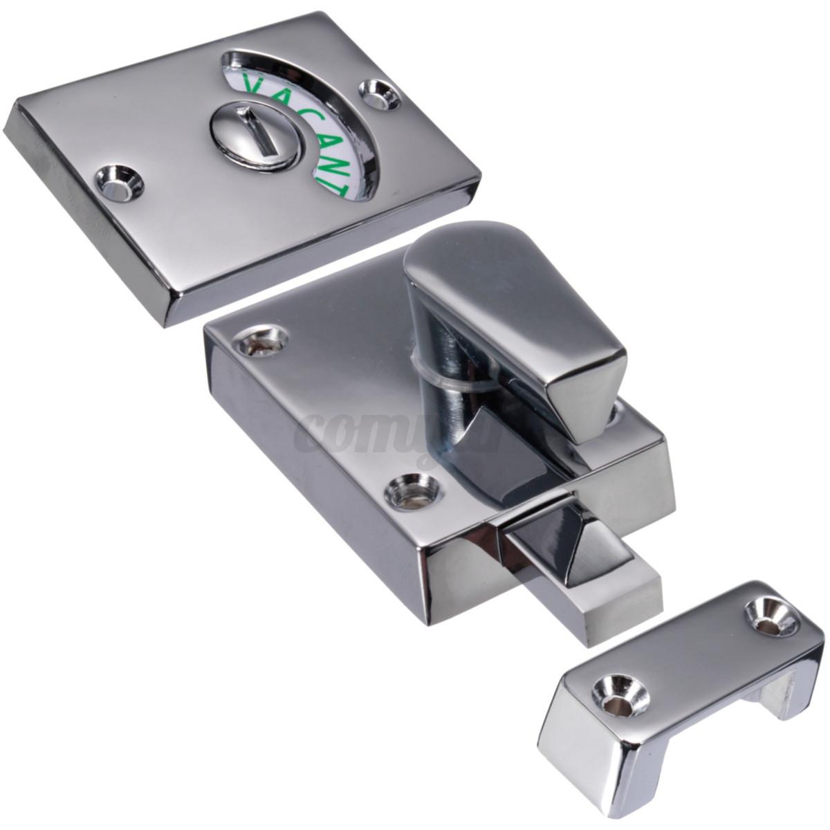 Polished Chrome Satin Indicator Bolt Vacant Engaged Bathroom Toilet Door Lock Ebay