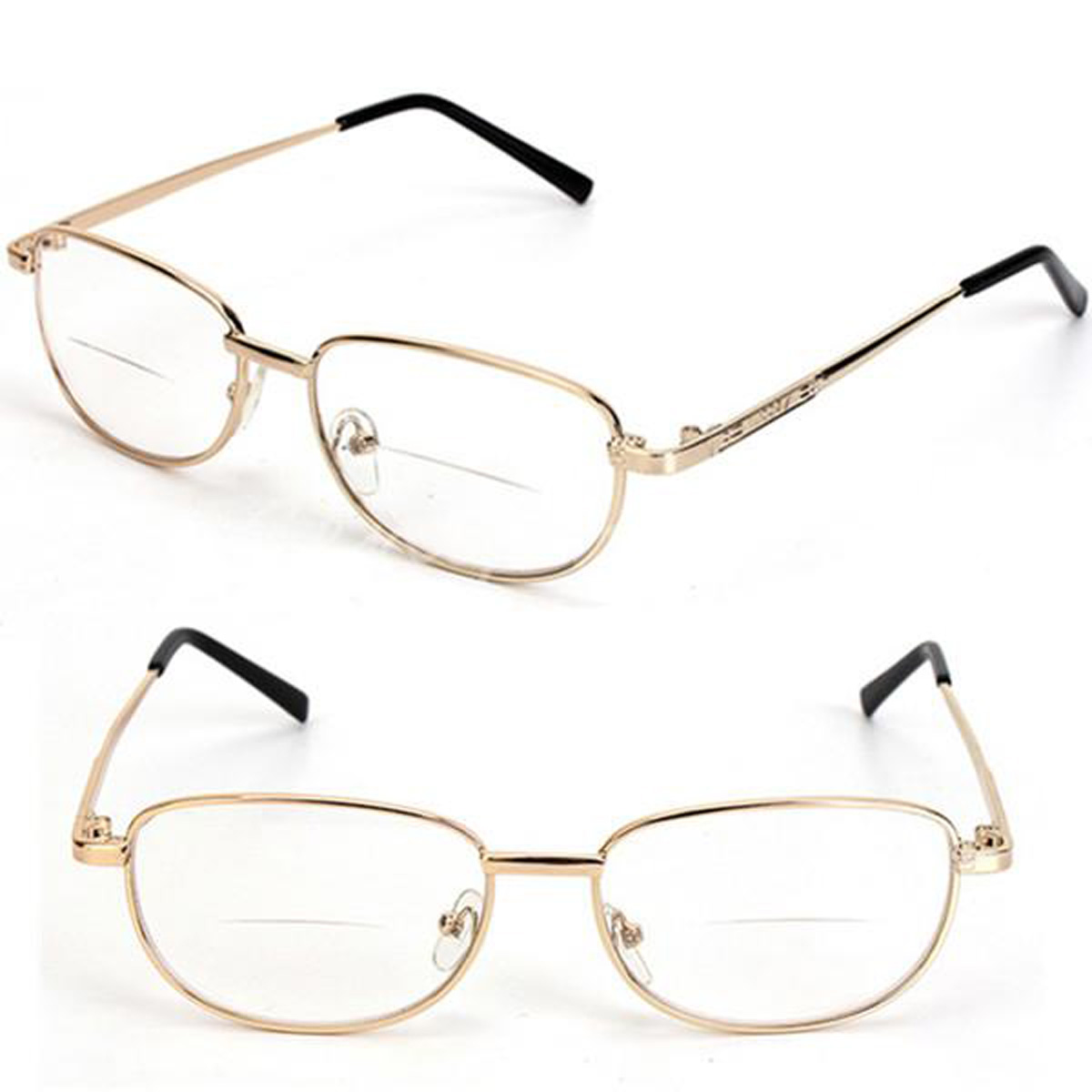Fashion Bifocal Lens Rimmed Men\'s Reading Glasses Gold Metal Frame ...