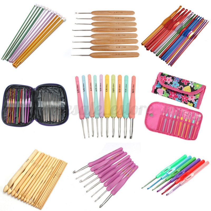 Aluminum Crochet Hooks Knit Needles Plastic Bamboo Handle Weave Yarn Craft Set