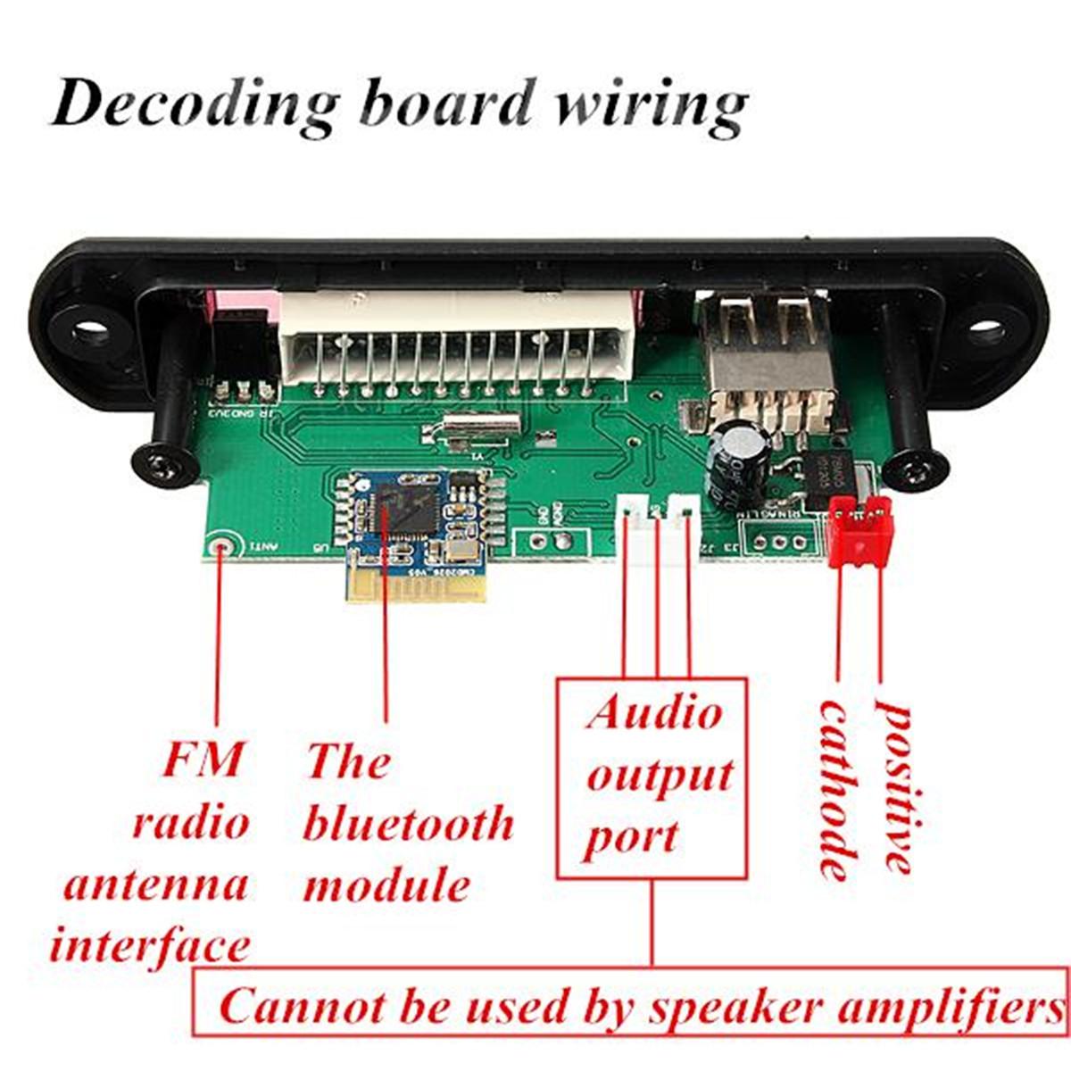 Kkmoon Car Music Mp3 Decoder Board Audio Fm Radio Module: Placa Decodificador Transmisor MP3 WMA Bluetooth 12V